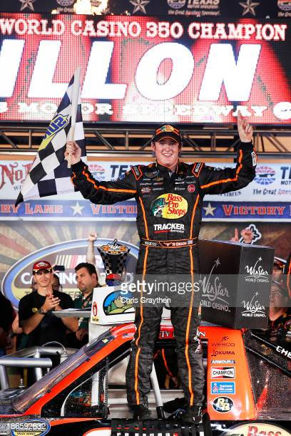 Ty Dillon driver of the Bass Pro Shops / Tracker Boats Chevrolet celebrates in Victory Lane after winning the NASCAR Camping World Truck Series...
