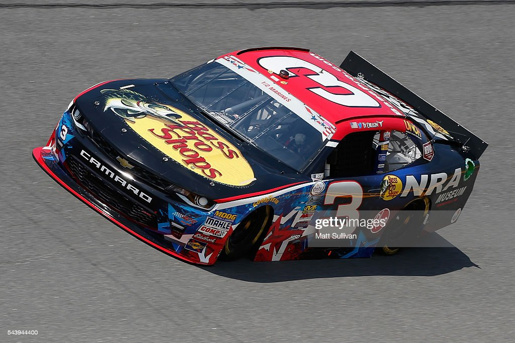 <a gi-track='captionPersonalityLinkClicked' href=/galleries/search?phrase=Ty+Dillon&family=editorial&specificpeople=6312493 ng-click='$event.stopPropagation()'>Ty Dillon</a>, driver of the #3 Bass Pro Shops/NRA Museum Chevrolet, practices for the NASCAR XFINITY Series Subway Firecracker 250 at Daytona International Speedway on June 30, 2016 in Daytona Beach, Florida.