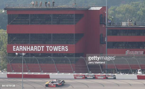 Ty Dillon driver of the Bass Pro Shops/Tracker Boats Chevrolet races during the NASCAR XFINITY Series Sports Clips Haircuts VFW 200 at Darlington...