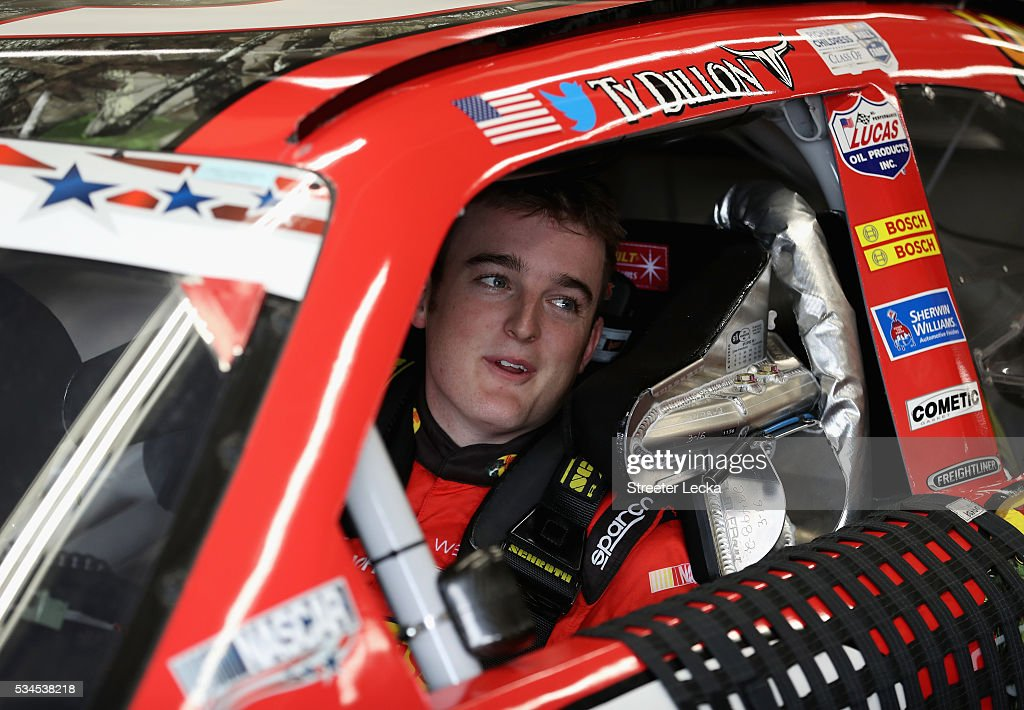 <a gi-track='captionPersonalityLinkClicked' href=/galleries/search?phrase=Ty+Dillon&family=editorial&specificpeople=6312493 ng-click='$event.stopPropagation()'>Ty Dillon</a>, driver of the #3 Bass Pro Shops/Tracker Chevrolet, sits in his car during practice for the NASCAR XFINITY Series Hisense 4K TV 300 at Charlotte Motor Speedway on May 27, 2016 in Charlotte, North Carolina.