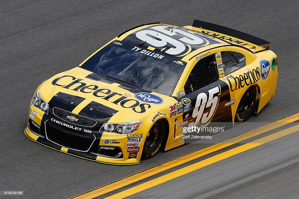 <a gi-track='captionPersonalityLinkClicked' href=/galleries/search?phrase=Ty+Dillon&family=editorial&specificpeople=6312493 ng-click='$event.stopPropagation()'>Ty Dillon</a>, driver of the #95 Cheerios Chevrolet, drives during qualifying for the NASCAR Sprint Cup Series Daytona 500 at Daytona International Speedway on February 14, 2016 in Daytona Beach, Florida.
