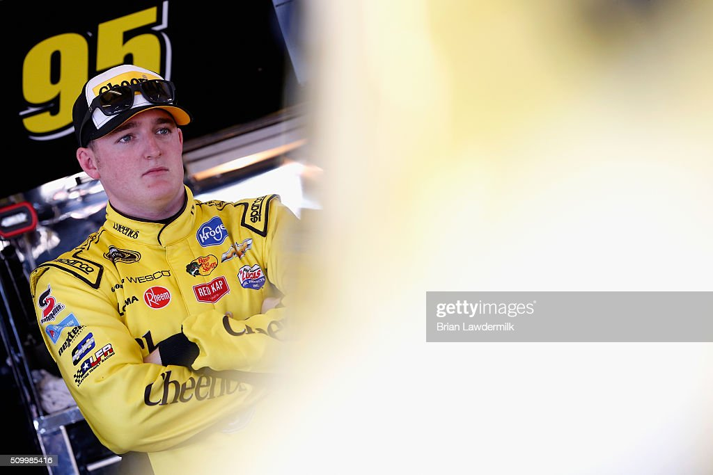 <a gi-track='captionPersonalityLinkClicked' href=/galleries/search?phrase=Ty+Dillon&family=editorial&specificpeople=6312493 ng-click='$event.stopPropagation()'>Ty Dillon</a>, driver of the #95 Cheerios Chevrolet, looks on in the garage area during practice for the NASCAR Sprint Cup Series Daytona 500 at Daytona International Speedway on February 13, 2016 in Daytona Beach, Florida.