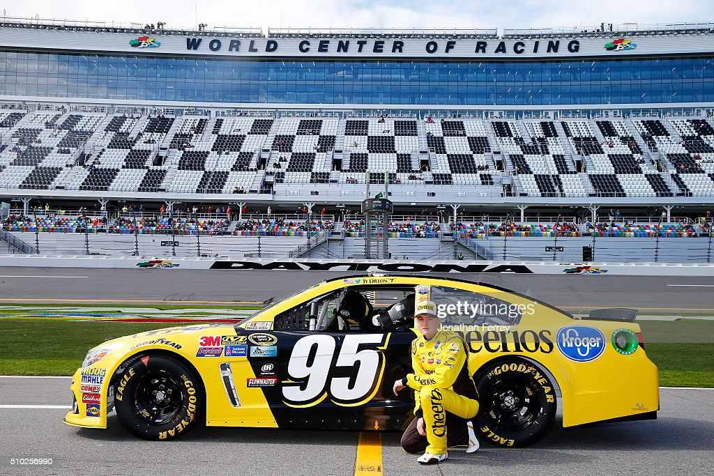 <a gi-track='captionPersonalityLinkClicked' href=/galleries/search?phrase=Ty+Dillon&family=editorial&specificpeople=6312493 ng-click='$event.stopPropagation()'>Ty Dillon</a>, driver of the #95 Cheerios Chevrolet, poses with his car after qualifying for the NASCAR Sprint Cup Series Daytona 500 at Daytona International Speedway on February 14, 2016 in Daytona Beach, Florida.