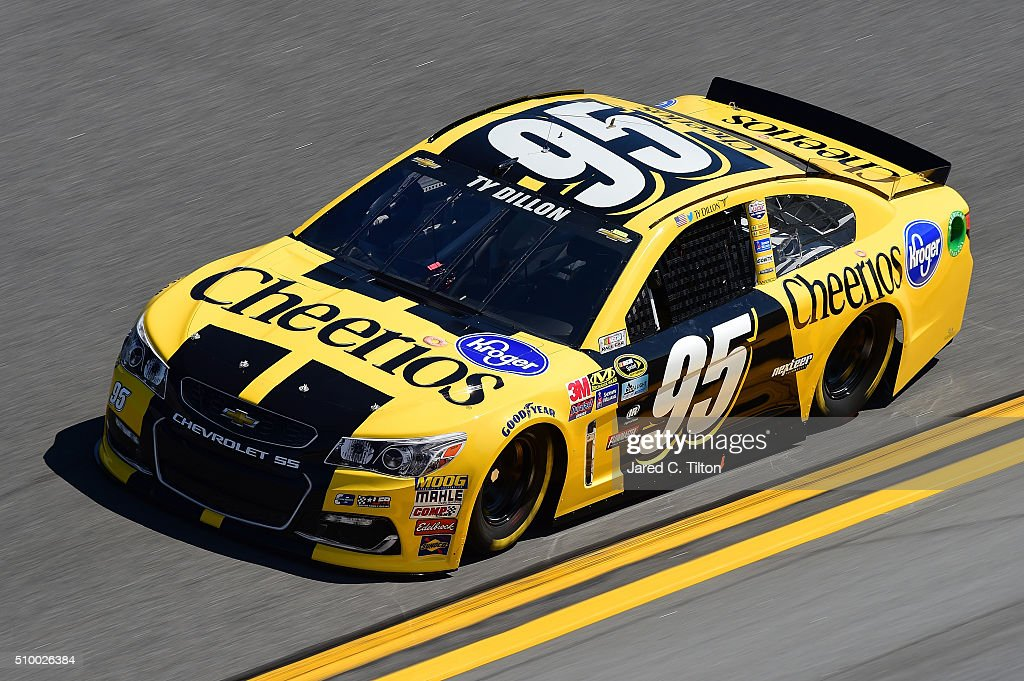 <a gi-track='captionPersonalityLinkClicked' href=/galleries/search?phrase=Ty+Dillon&family=editorial&specificpeople=6312493 ng-click='$event.stopPropagation()'>Ty Dillon</a>, driver of the #95 Cheerios Chevrolet, practices for the NASCAR Sprint Cup Series Daytona 500 at Daytona International Speedway on February 13, 2016 in Daytona Beach, Florida.
