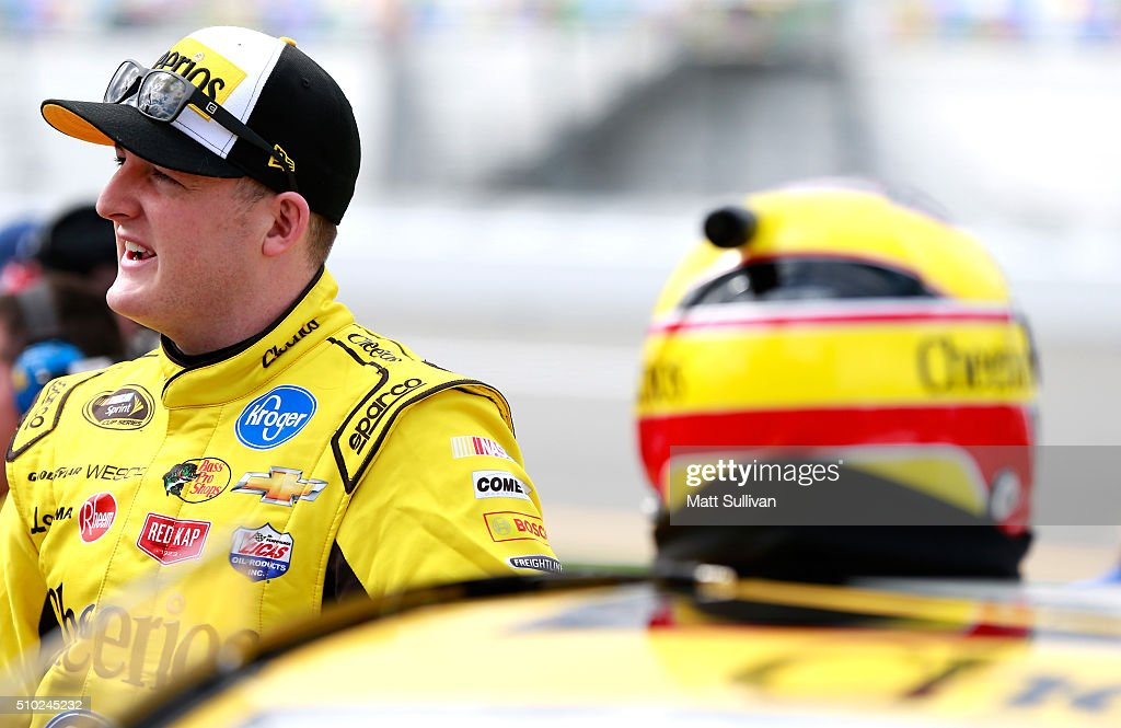 <a gi-track='captionPersonalityLinkClicked' href=/galleries/search?phrase=Ty+Dillon&family=editorial&specificpeople=6312493 ng-click='$event.stopPropagation()'>Ty Dillon</a>, driver of the #95 Cheerios Chevrolet, stands on the grid during qualifying for the NASCAR Sprint Cup Series Daytona 500 at Daytona International Speedway on February 14, 2016 in Daytona Beach, Florida.