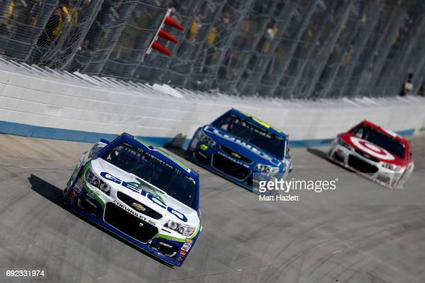 Ty Dillon driver of the GEICO Chevrolet leads a pack of cars during the Monster Energy NASCAR Cup Series AAA 400 Drive for Autism at Dover...