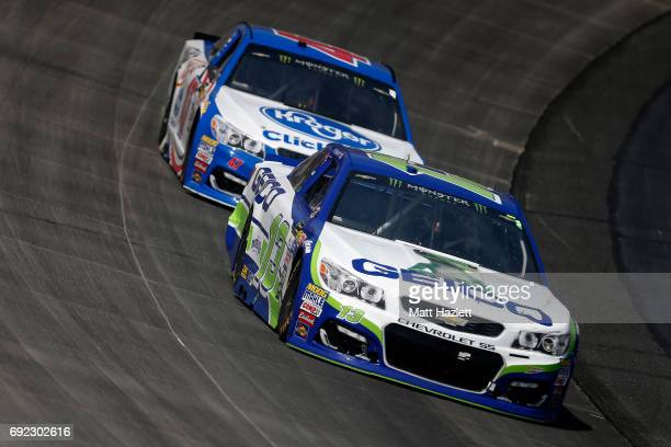 Ty Dillon driver of the GEICO Chevrolet leads AJ Allmendinger driver of the Kroger ClickList Chevrolet during the Monster Energy NASCAR Cup Series...