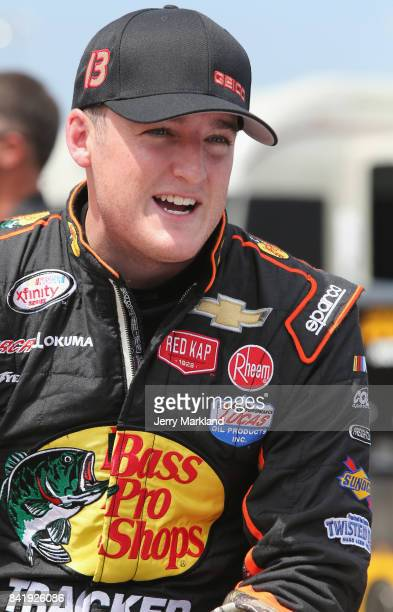 Ty Dillon driver of the GEICO Chevrolet walks on the grid during qualifying for the Monster Energy NASCAR Cup Series Bojangles' Southern 500 at...