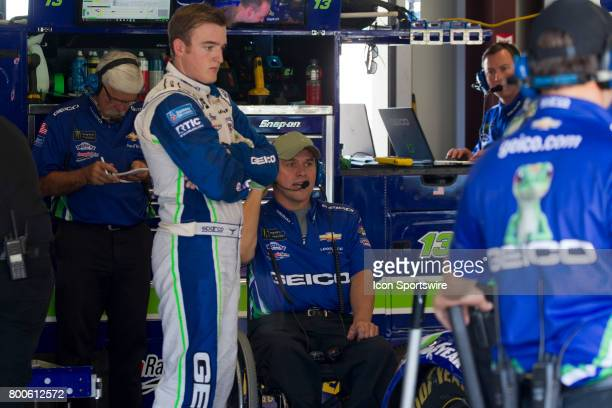 Ty Dillon looks on as his crew chief Bootie Barker talks with the crew during the Toyota/Save Mart 350 practice on June 23 2017 at Sonoma Raceway in...