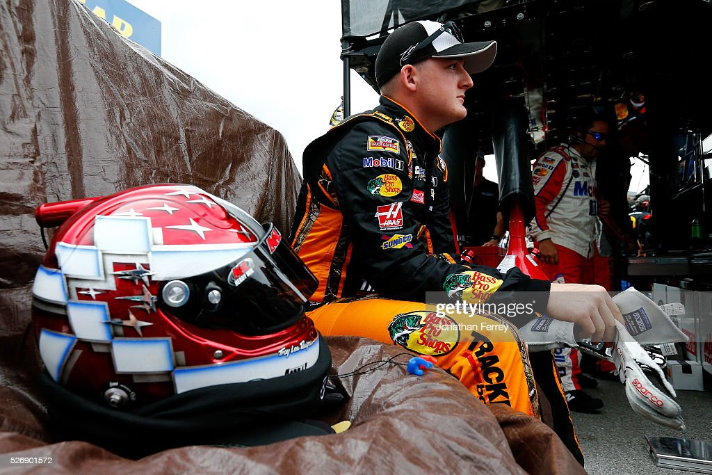 <a gi-track='captionPersonalityLinkClicked' href=/galleries/search?phrase=Ty+Dillon&family=editorial&specificpeople=6312493 ng-click='$event.stopPropagation()'>Ty Dillon</a>, replacement driver for Tony Stewart, driver of the #14 Bass Pro Shops Chevrolet, waits in the pit box during the NASCAR Sprint Cup Series GEICO 500 at Talladega Superspeedway on May 1, 2016 in Talladega, Alabama.