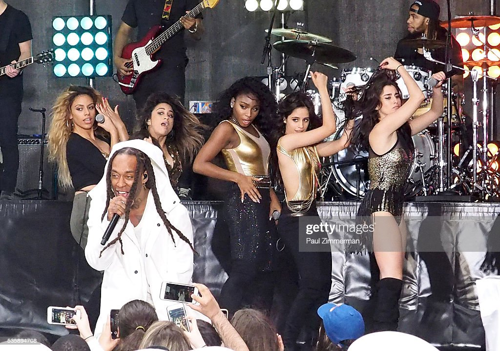 Ty Dolla Sign (C) and Dinah-Jane Hansen, Ally Brooke, Normani Hamilton, Camila Cabello and Lauren Jauregui of Fifth Harmony perform on NBC's 'Today' at Rockefeller Plaza on May 30, 2016 in New York City.