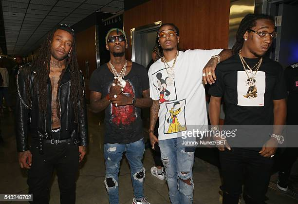 Ty Dolla Sign poses with Offset Quavo and Takeoff of Migos attend the 2016 BET Experience Staples Center Concert Presented by Sprite Performances by...