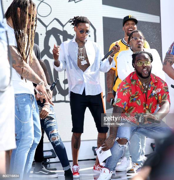 Ty Dolla Sign Ricky P Wiz Khalifa and members of Taylor Gang Entertainment onstage at day two of 2017 BETX Live sponsored by McDonald's at Gilbert...