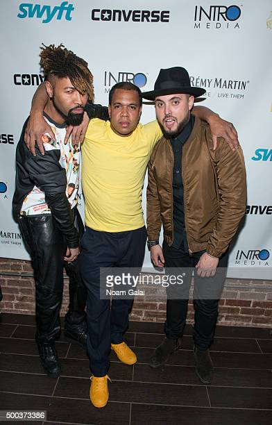 Ty Hunter Johnny Nunez and Nick Semkiw attend the Ty Hunter Emoji app launch on December 7 2015 in New York City