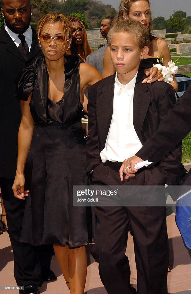 Ty James and Tazman James during A Celebration of the Life of Rick James - Arrivals at Forest Lawn in Burbank, California, United States.