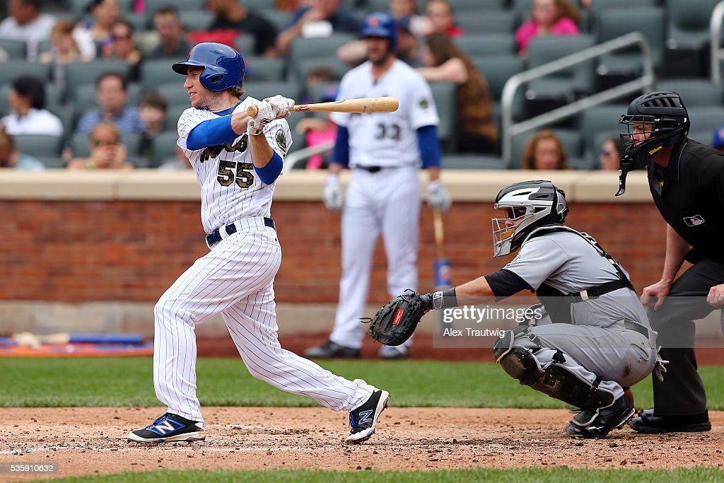 Ty Kelly #55 of the New York Mets gets his first career Major League hit in the fifth inning during the game against the Chicago White Sox at Citi Field on Monday, May 30, 2016 in the Queens borough of New York City.