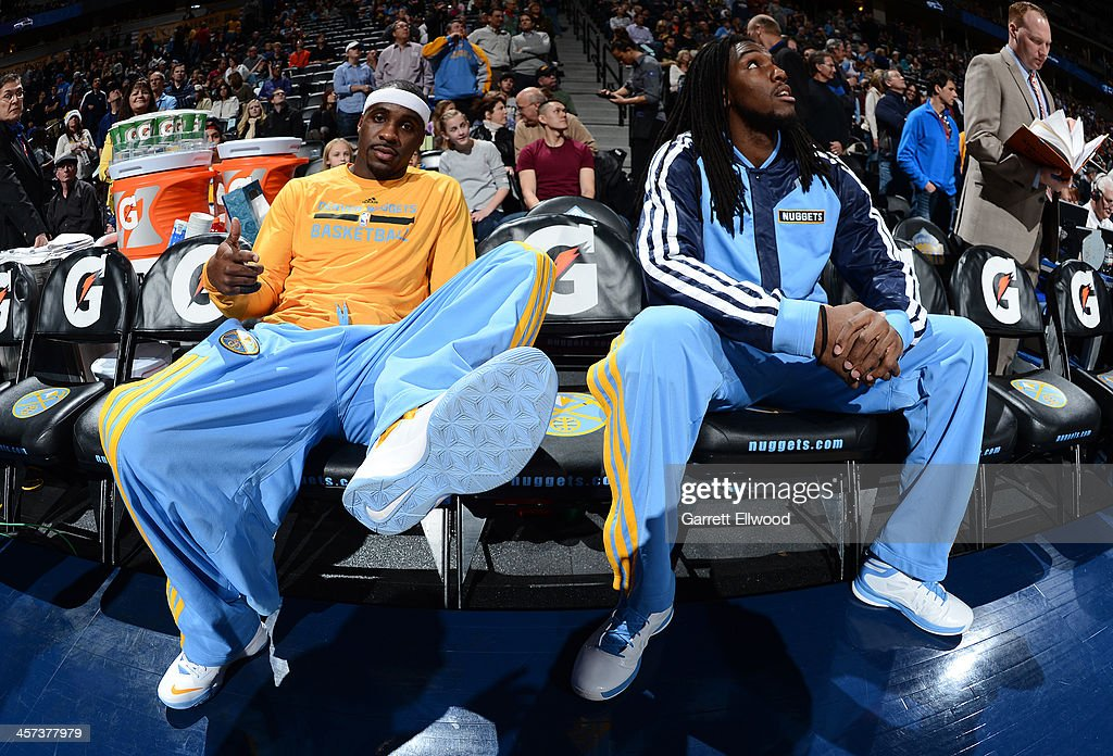 <a gi-track='captionPersonalityLinkClicked' href=/galleries/search?phrase=Ty+Lawson&family=editorial&specificpeople=4024882 ng-click='$event.stopPropagation()'>Ty Lawson</a> #3 and <a gi-track='captionPersonalityLinkClicked' href=/galleries/search?phrase=Kenneth+Faried&family=editorial&specificpeople=5765135 ng-click='$event.stopPropagation()'>Kenneth Faried</a> #35 of the Denver Nuggets before the game against the Utah Jazz on December 13, 2013 at the Pepsi Center in Denver, Colorado.