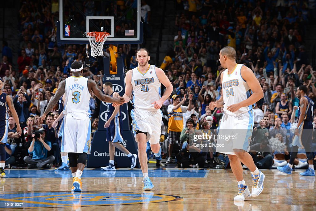 <a gi-track='captionPersonalityLinkClicked' href=/galleries/search?phrase=Ty+Lawson&family=editorial&specificpeople=4024882 ng-click='$event.stopPropagation()'>Ty Lawson</a> #3, <a gi-track='captionPersonalityLinkClicked' href=/galleries/search?phrase=Kosta+Koufos&family=editorial&specificpeople=4216032 ng-click='$event.stopPropagation()'>Kosta Koufos</a> #41 and <a gi-track='captionPersonalityLinkClicked' href=/galleries/search?phrase=Andre+Miller&family=editorial&specificpeople=201678 ng-click='$event.stopPropagation()'>Andre Miller</a> #24 of the Denver Nuggets runs up court during the game against the Memphis Grizzlies on March 15, 2013 at the Pepsi Center in Denver, Colorado.