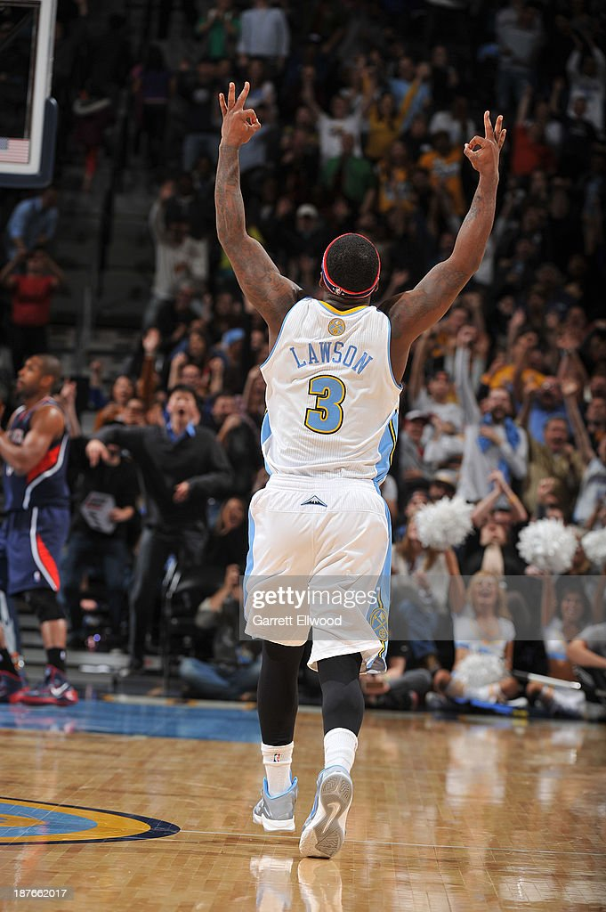 <a gi-track='captionPersonalityLinkClicked' href=/galleries/search?phrase=Ty+Lawson&family=editorial&specificpeople=4024882 ng-click='$event.stopPropagation()'>Ty Lawson</a> #3 of the Denver Nuggets celebrates against the Atlanta Hawks on November 7, 2013 at the Pepsi Center in Denver, Colorado.