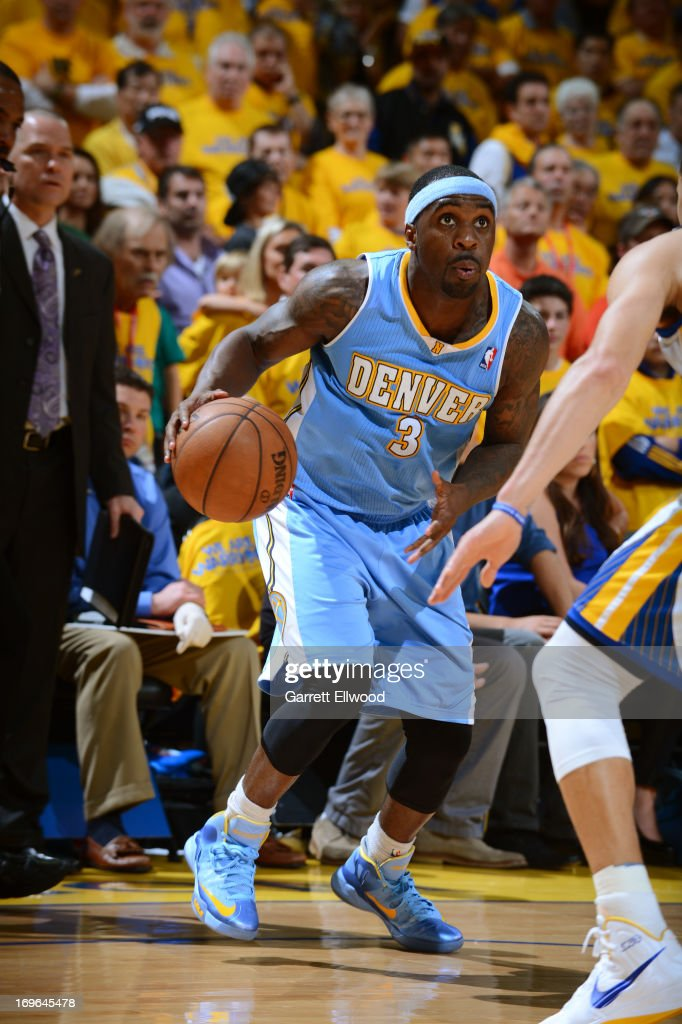 <a gi-track='captionPersonalityLinkClicked' href=/galleries/search?phrase=Ty+Lawson&family=editorial&specificpeople=4024882 ng-click='$event.stopPropagation()'>Ty Lawson</a> #3 of the Denver Nuggets drives against the Golden State Warriors in Game Three of the Western Conference Quarterfinals during the 2013 NBA Playoffs on April 26, 2013 at the Oracle Arena in Oakland, California.