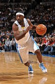Ty Lawson of the Denver Nuggets drives against the Los Angeles Clippers during the game on January 21 2010 at the Pepsi Center in Denver Colorado The...