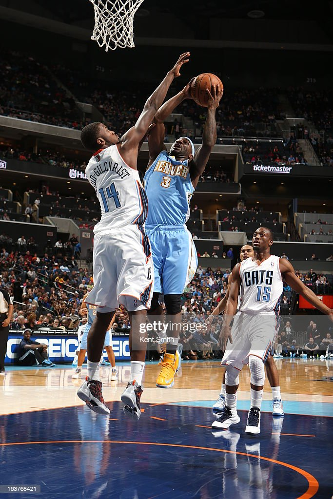 Ty Lawson #3 of the Denver Nuggets drives to the basket against the Charlotte Bobcats at the Time Warner Cable Arena on February 23, 2013 in Charlotte, North Carolina.