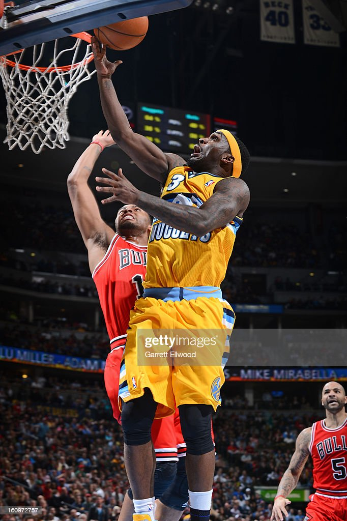 <a gi-track='captionPersonalityLinkClicked' href=/galleries/search?phrase=Ty+Lawson&family=editorial&specificpeople=4024882 ng-click='$event.stopPropagation()'>Ty Lawson</a> #3 of the Denver Nuggets drives to the basket against the Chicago Bulls on February 7, 2013 at the Pepsi Center in Denver, Colorado.