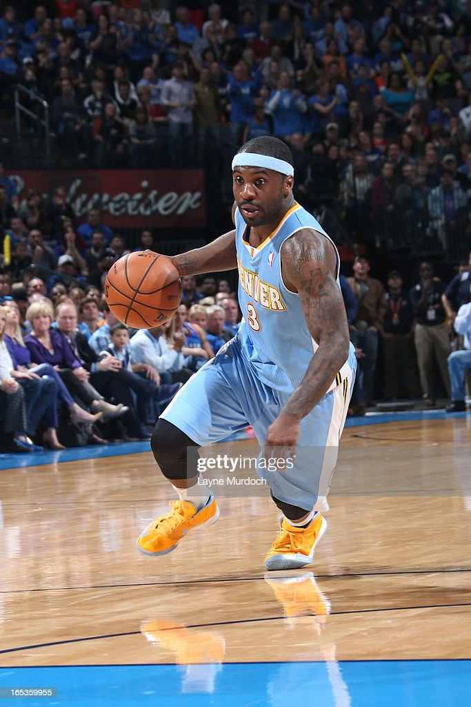 Ty Lawson #3 of the Denver Nuggets drives to the basket against the Oklahoma City Thunder on March 19, 2013 at the Chesapeake Energy Arena in Oklahoma City, Oklahoma.