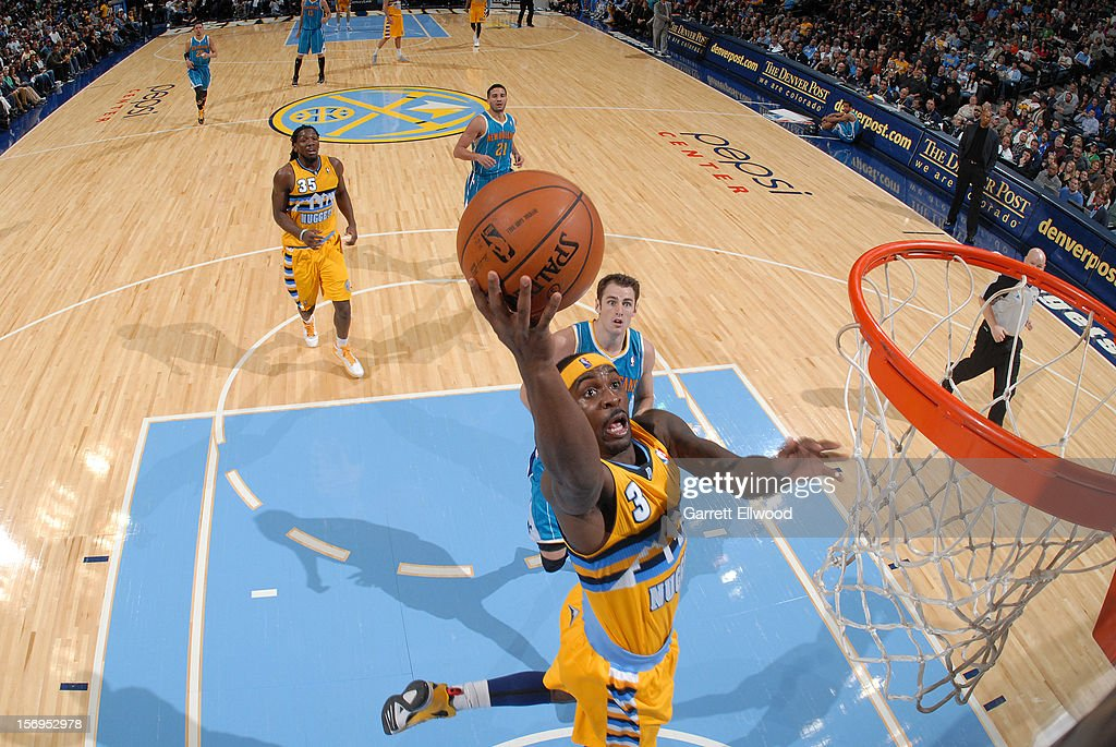 <a gi-track='captionPersonalityLinkClicked' href=/galleries/search?phrase=Ty+Lawson&family=editorial&specificpeople=4024882 ng-click='$event.stopPropagation()'>Ty Lawson</a> #3 of the Denver Nuggets during the game between the New Orleans Hornets and the Denver Nuggets on November 25, 2012 at the Pepsi Center in Denver, Colorado.