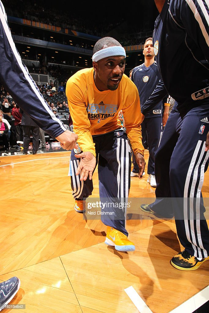 Ty Lawson #3 of the Denver Nuggets gets introduced before the game against the Brooklyn Nets on February 13, 2013 at the Barclays Center in the Brooklyn borough of New York City in New York City.