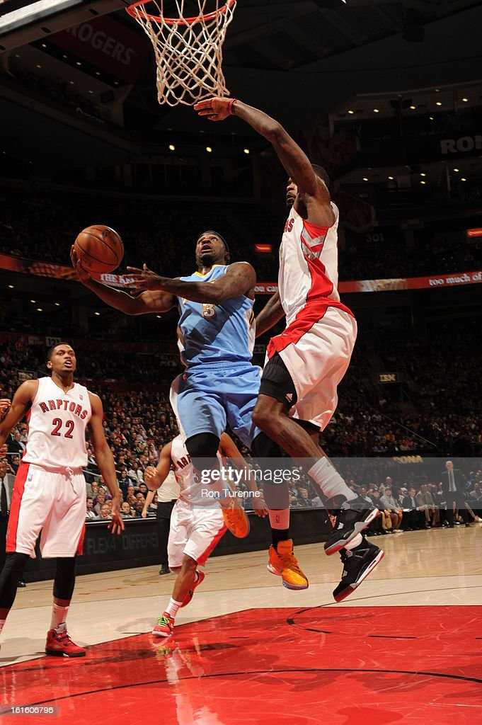 <a gi-track='captionPersonalityLinkClicked' href=/galleries/search?phrase=Ty+Lawson&family=editorial&specificpeople=4024882 ng-click='$event.stopPropagation()'>Ty Lawson</a> #3 of the Denver Nuggets goes up for the easy bucket against the Toronto Raptors during the game on February 12, 2013 at the Air Canada Centre in Toronto, Ontario, Canada.