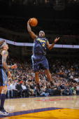 Ty Lawson of the Denver Nuggets grabs a rebound against the Golden State Warriors on January 20 2010 at Oracle Arena in Oakland California NOTE TO...