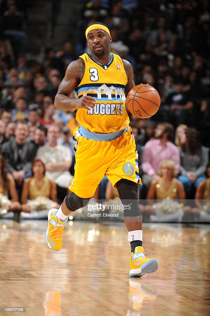 <a gi-track='captionPersonalityLinkClicked' href=/galleries/search?phrase=Ty+Lawson&family=editorial&specificpeople=4024882 ng-click='$event.stopPropagation()'>Ty Lawson</a> #3 of the Denver Nuggets handles the ball against the Orlando Magic on January 9, 2013 at the Pepsi Center in Denver, Colorado.