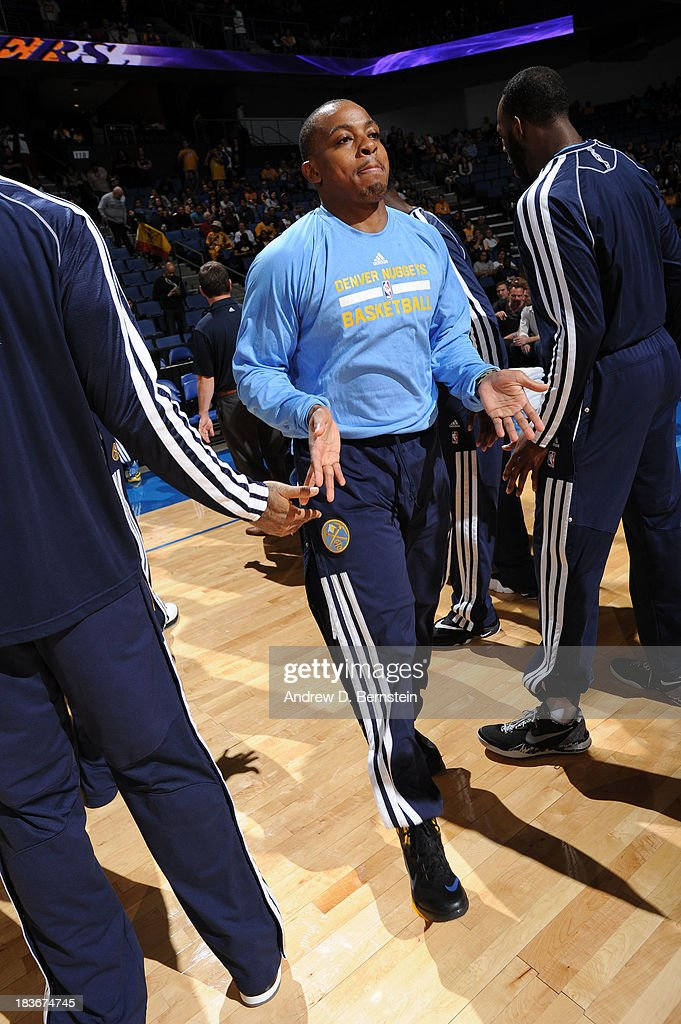 <a gi-track='captionPersonalityLinkClicked' href=/galleries/search?phrase=Ty+Lawson&family=editorial&specificpeople=4024882 ng-click='$event.stopPropagation()'>Ty Lawson</a> #3 of the Denver Nuggets is introduced prior to the game against the Los Angeles Lakers at Citizens Business Bank Arena on October 8, 2013 in Ontario, California.