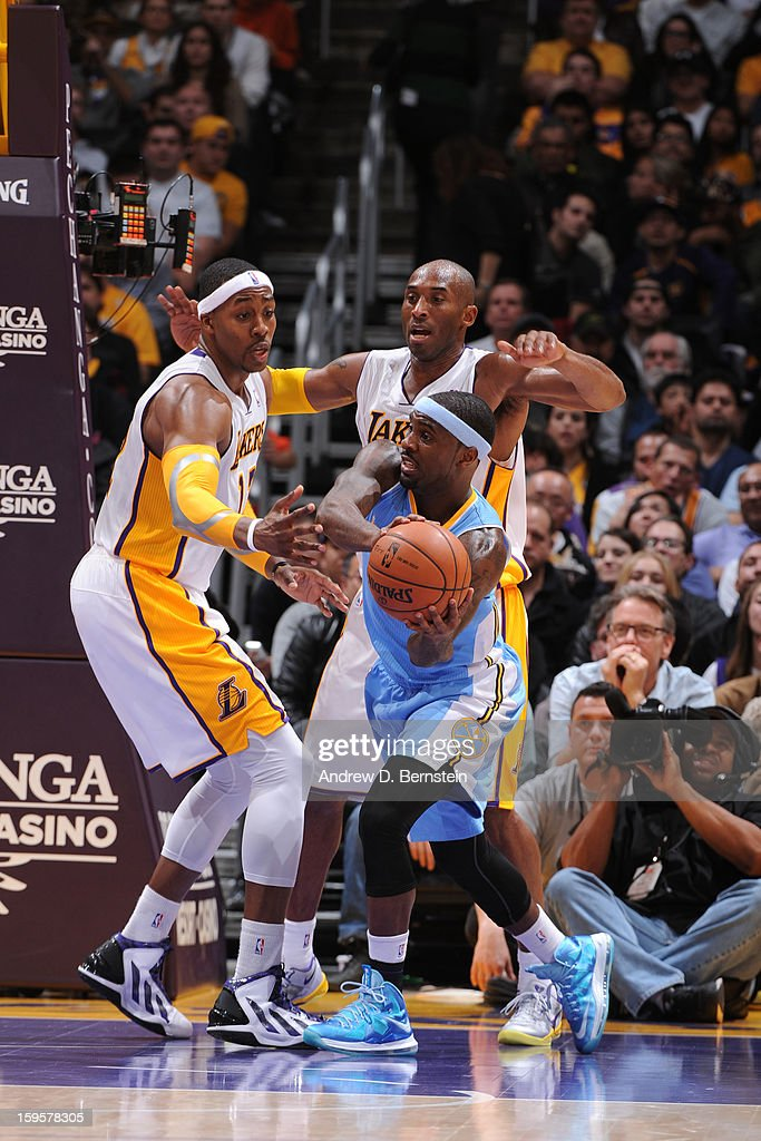 Ty Lawson #3 of the Denver Nuggets looks to pass the ball against the Los Angeles Lakers at Staples Center on January 6, 2013 in Los Angeles, California.