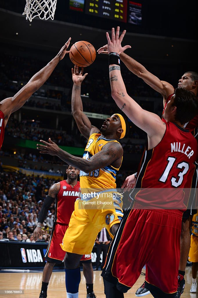 <a gi-track='captionPersonalityLinkClicked' href=/galleries/search?phrase=Ty+Lawson&family=editorial&specificpeople=4024882 ng-click='$event.stopPropagation()'>Ty Lawson</a> #3 of the Denver Nuggets put up a shot against the Miami Heat on November 15, 2012 at the Pepsi Center in Denver, Colorado.