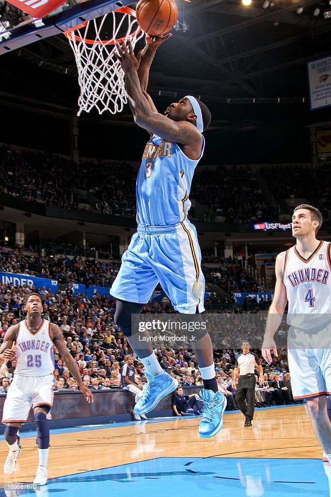 Ty Lawson #3 of the Denver Nuggets shoots a layup against the Oklahoma City Thunder on January 16, 2013 at the Chesapeake Energy Arena in Oklahoma City, Oklahoma.