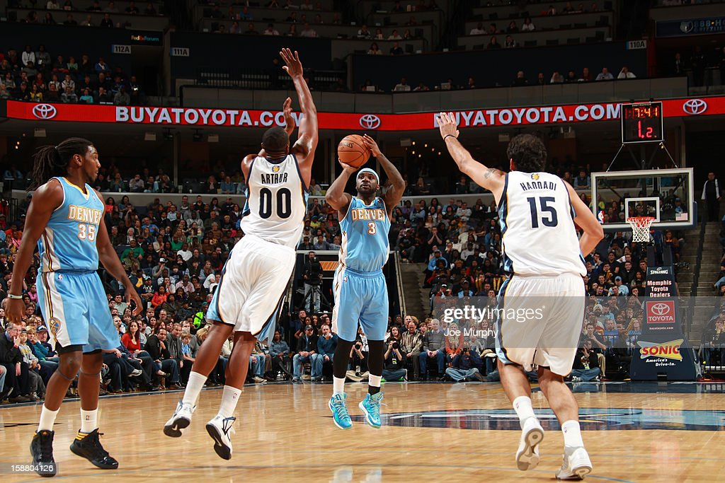 <a gi-track='captionPersonalityLinkClicked' href=/galleries/search?phrase=Ty+Lawson&family=editorial&specificpeople=4024882 ng-click='$event.stopPropagation()'>Ty Lawson</a> #3 of the Denver Nuggets shoots against <a gi-track='captionPersonalityLinkClicked' href=/galleries/search?phrase=Darrell+Arthur&family=editorial&specificpeople=4102032 ng-click='$event.stopPropagation()'>Darrell Arthur</a> #00 of the Memphis Grizzlies on December 29, 2012 at FedExForum in Memphis, Tennessee.