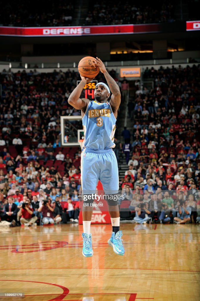 Ty Lawson #3 of the Denver Nuggets shoots the ball against the Houston Rockets on January 23, 2013 at the Toyota Center in Houston, Texas.