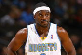 Ty Lawson of the Denver Nuggets stands on the court during the game against the Toronto Raptors on November 17 2009 at the Pepsi Center in Denver...