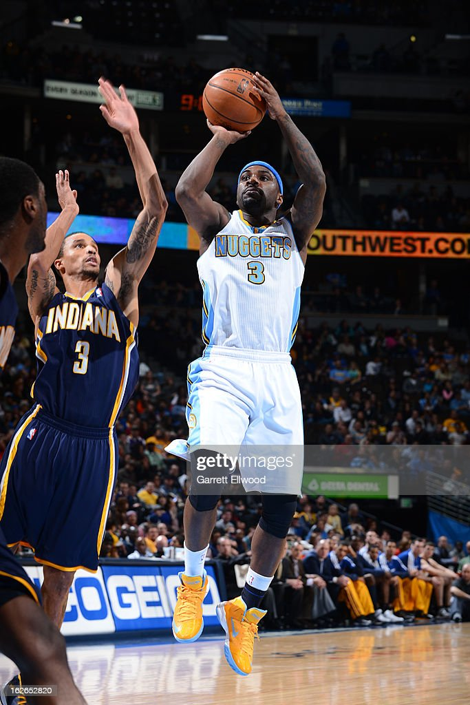 <a gi-track='captionPersonalityLinkClicked' href=/galleries/search?phrase=Ty+Lawson&family=editorial&specificpeople=4024882 ng-click='$event.stopPropagation()'>Ty Lawson</a> #3 of the Denver Nuggets takes a shot against the Indiana Pacers on January 28, 2013 at the Pepsi Center in Denver, Colorado.