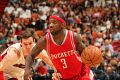 Ty Lawson of the Houston Rockets drives to the basket against the Miami Heat during the game on November 1 2015 at American Airlines Arena in Miami...