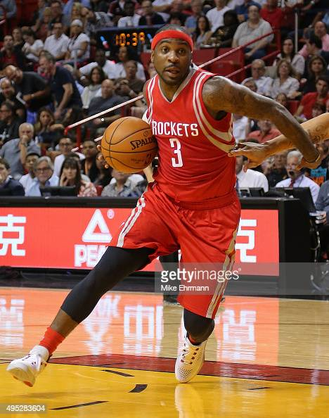 Ty Lawson of the Houston Rockets drives to the basket during a game against the Miami Heat at American Airlines Arena on November 1 2015 in Miami...