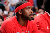 Ty Lawson of the Houston Rockets looks on during the game against the Memphis Grizzlies on November 25 2015 at the Toyota Center in Houston Texas...