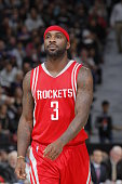 Ty Lawson of the Houston Rockets looks on during the game against the Sacramento Kings on December 15 2015 at Sleep Train Arena in Sacramento...