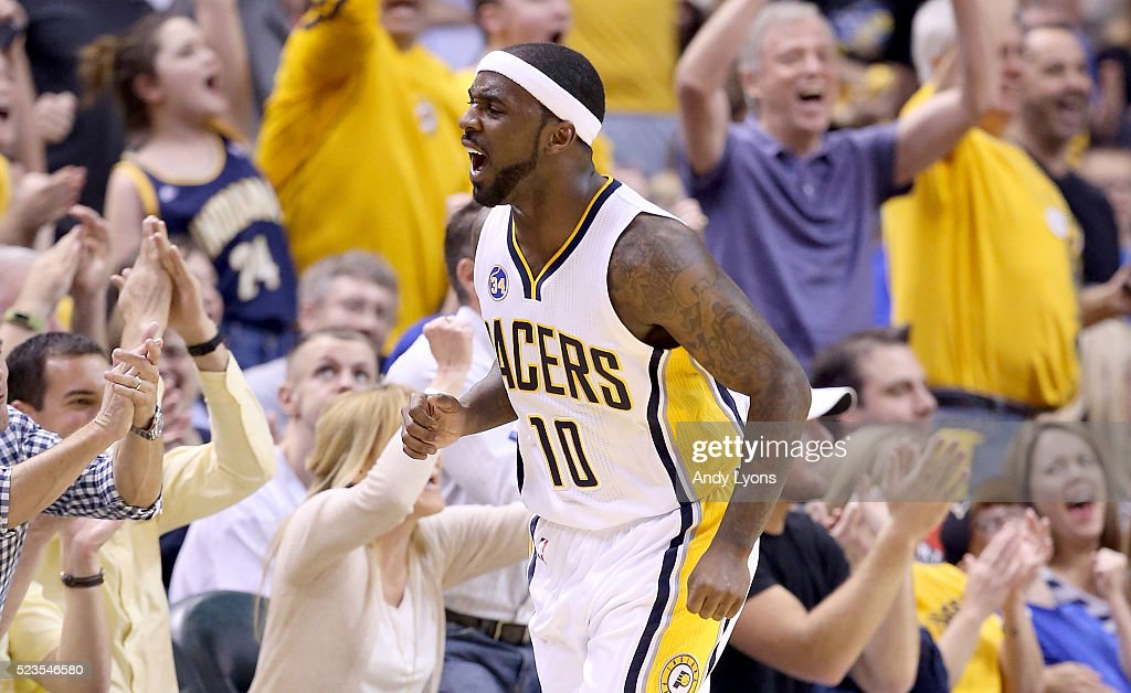 Ty Lawson of the Indiana Pacers celebrates against the Toronto Raptors during game four of the 2016 NBA Eastern Conference Quarterfinal Playoffs at...
