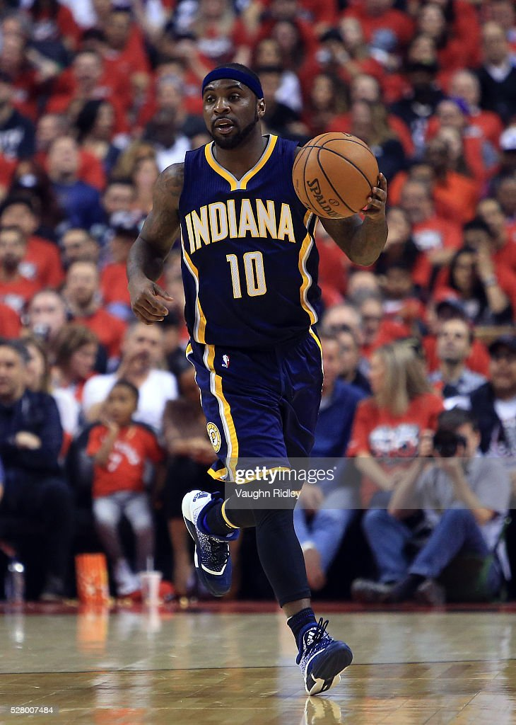 Ty Lawson of the Indiana Pacers dribbles the ball in the first half of Game Seven of the Eastern Conference Quarterfinals against the Toronto Raptors...