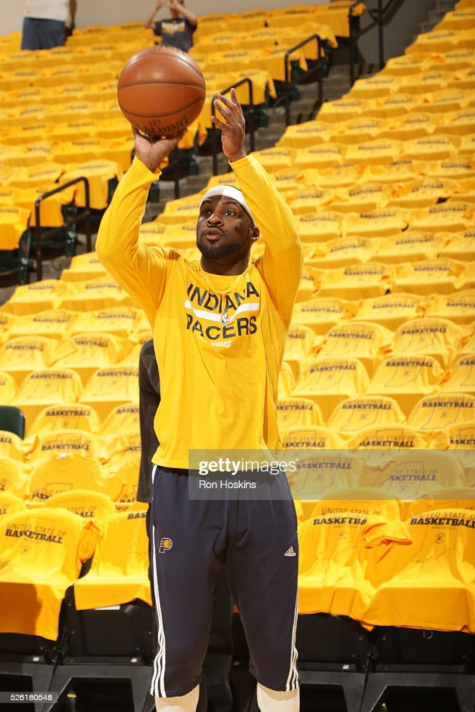 Ty Lawson #10 of the Indiana Pacers warms up before the game against the Toronto Raptors in Game Six of the Eastern Conference Quarterfinals during the 2016 NBA Playoffs on April 29, 2016 at Bankers Life Fieldhouse in Indianapolis, Indiana.
