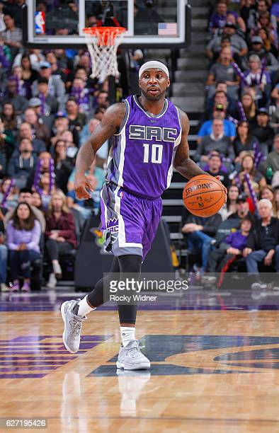 Ty Lawson of the Sacramento Kings brings the ball up the court against the Oklahoma City Thunder on November 23 2016 at Golden 1 Center in Sacramento...