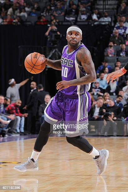 Ty Lawson of the Sacramento Kings handles the ball against the Oklahoma City Thunder on November 23 2016 at Golden 1 Center in Sacramento California...